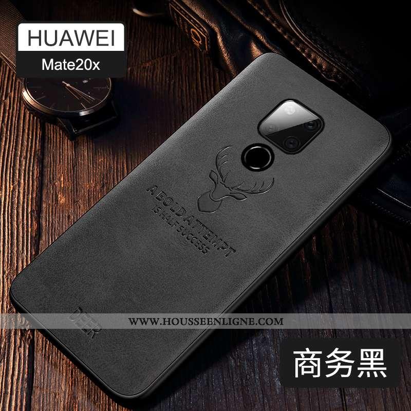 Coque Huawei Mate 20 X Ultra Tendance Noir Étui Téléphone Portable Incassable Légère