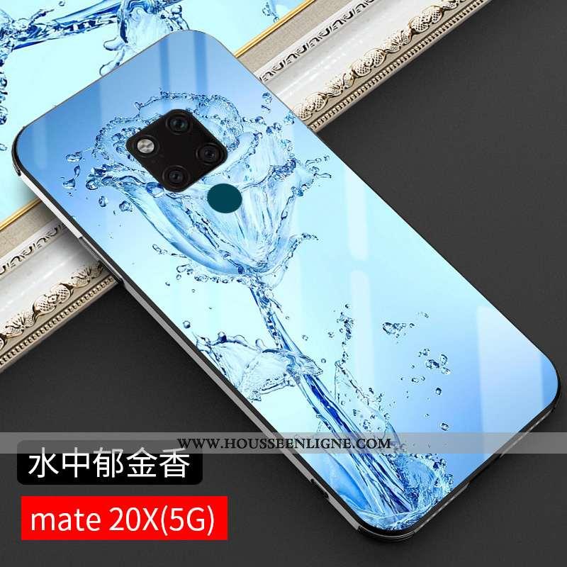 Coque Huawei Mate 20 X Verre Tendance Téléphone Portable Protection Incassable Tout Compris Bleu
