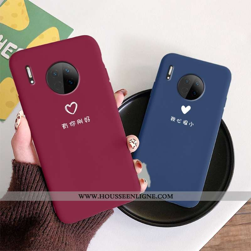 Coque Huawei Mate 30 Légère Fluide Doux Mode Ultra Amoureux Nouveau Délavé En Daim Rouge