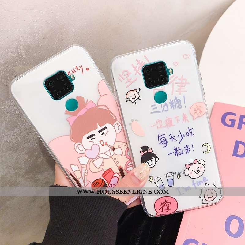 Coque Huawei Mate 30 Lite Fluide Doux Transparent Blanc Charmant Étui Incassable Blanche