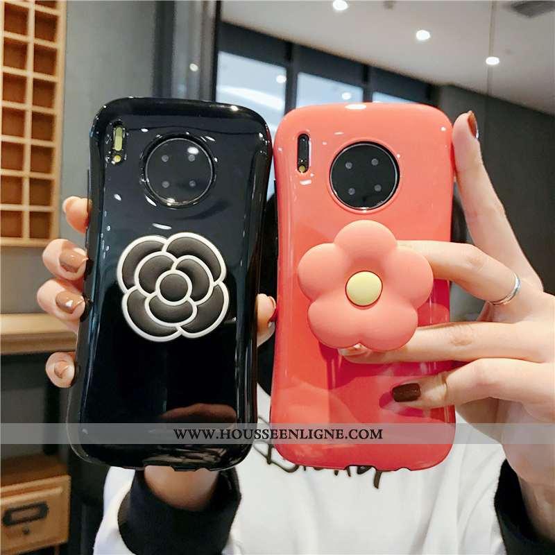 Coque Huawei Mate 30 Pro Créatif Fluide Doux Étui Téléphone Portable Support Fleurs Rouge