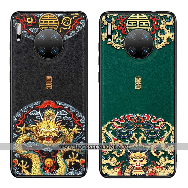Coque Huawei Mate 30 Pro Cuir Protection Noir Style Chinois Incassable Tout Compris Étui