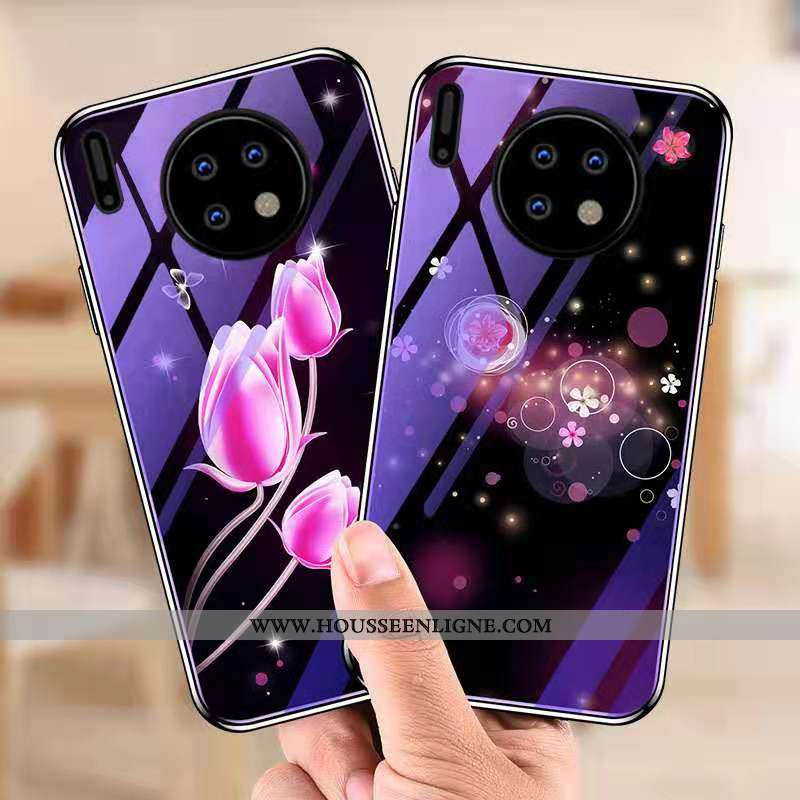 Coque Huawei Mate 30 Pro Tendance Mode Personnalité Incassable Placage Or Verre Violet