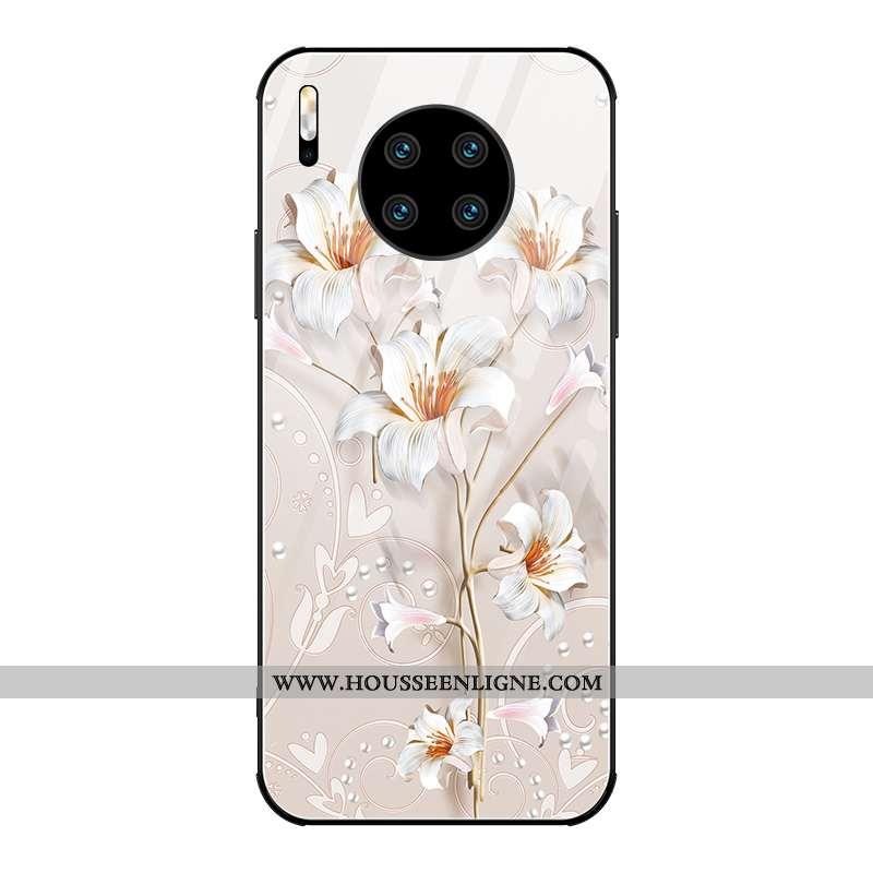 Coque Huawei Mate 30 Pro Verre Personnalité Créatif Mode Luxe Blanc Miroir Blanche
