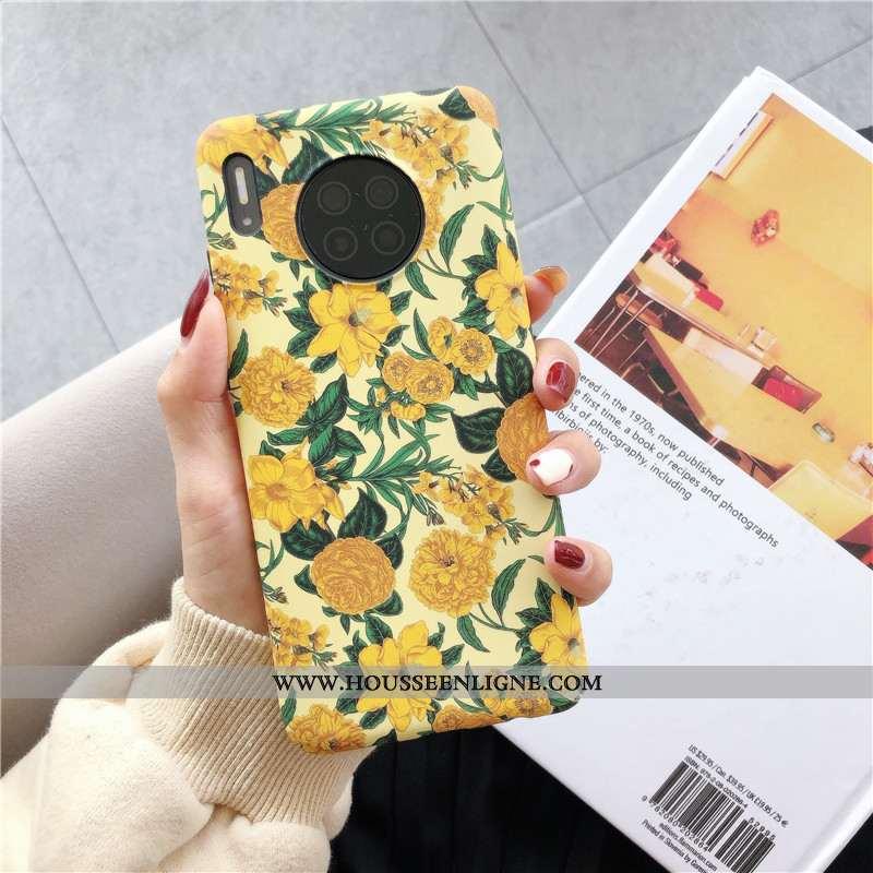 Coque Huawei Mate 30 Protection Délavé En Daim Peinture À L'huile Petit Gaufrage Fleur Jaune