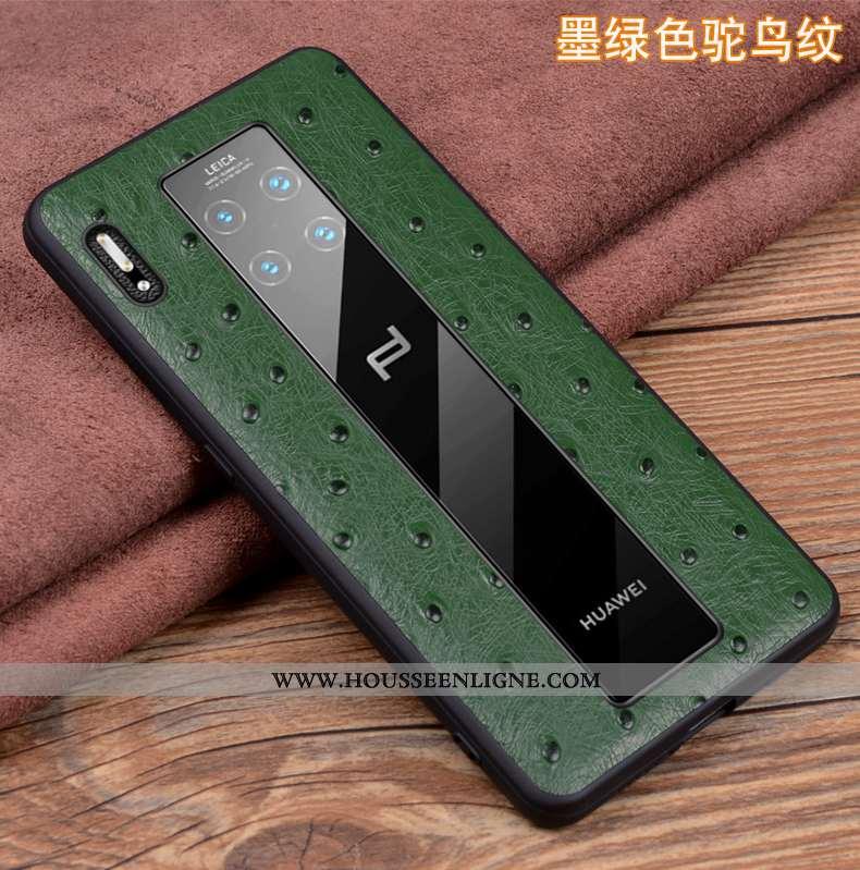 Coque Huawei Mate 30 Rs Cuir Véritable Cuir Étui Incassable Protection Vert Verte