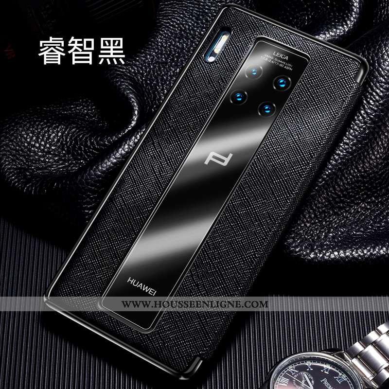 Coque Huawei Mate 30 Rs Cuir Véritable Cuir Téléphone Portable Windows Incassable Clamshell Noir