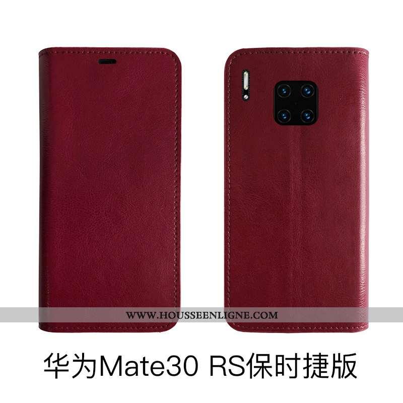 Coque Huawei Mate 30 Rs Protection Cuir Véritable Bovins Cuir Housse Tout Compris Rouge