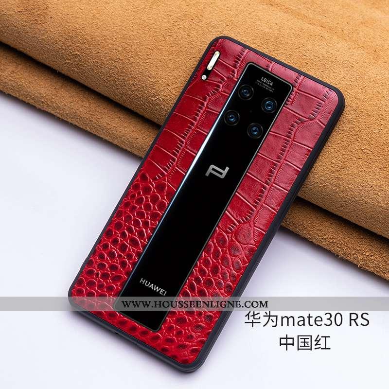 Coque Huawei Mate 30 Rs Protection Cuir Véritable Fluide Doux Incassable Cuir Haut Luxe Bordeaux