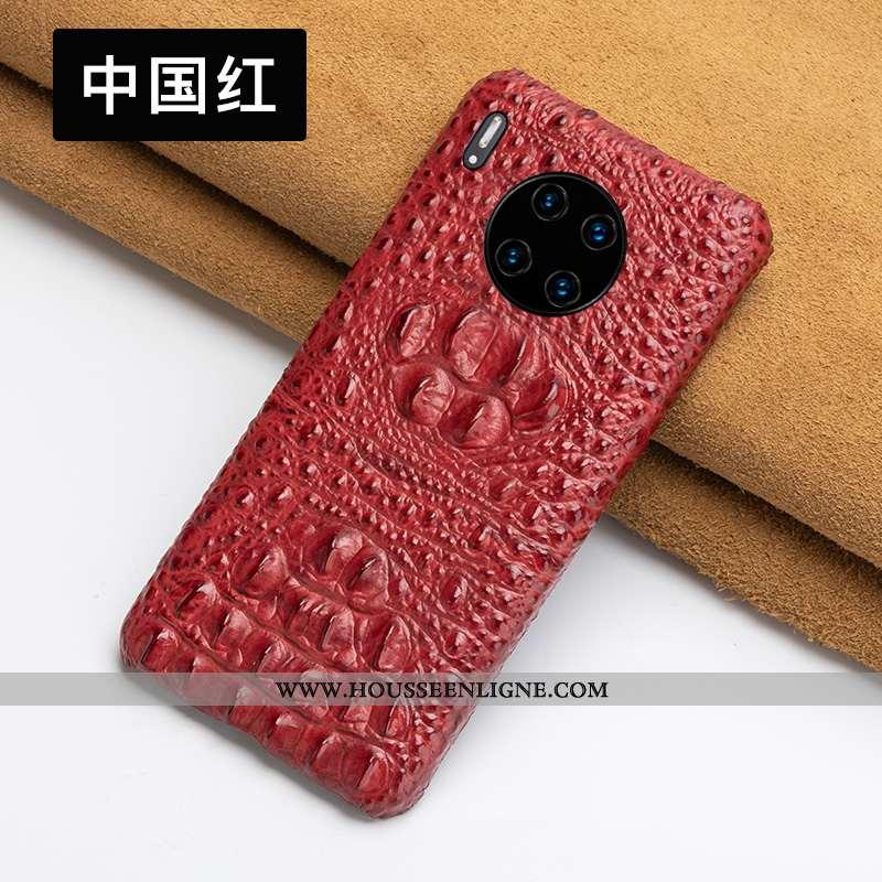 Coque Huawei Mate 30 Ultra Légère Qualité Cuir Haut Rouge Étui Bovins