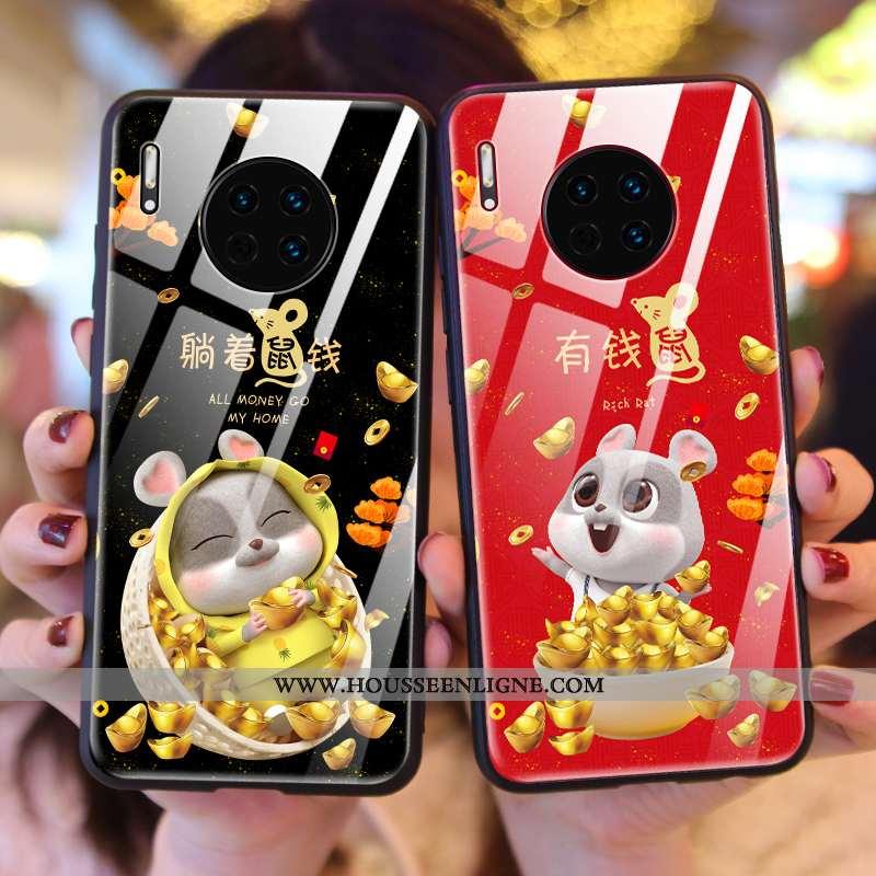 Coque Huawei Mate 30 Verre Créatif Nouveau Rat Téléphone Portable Rouge