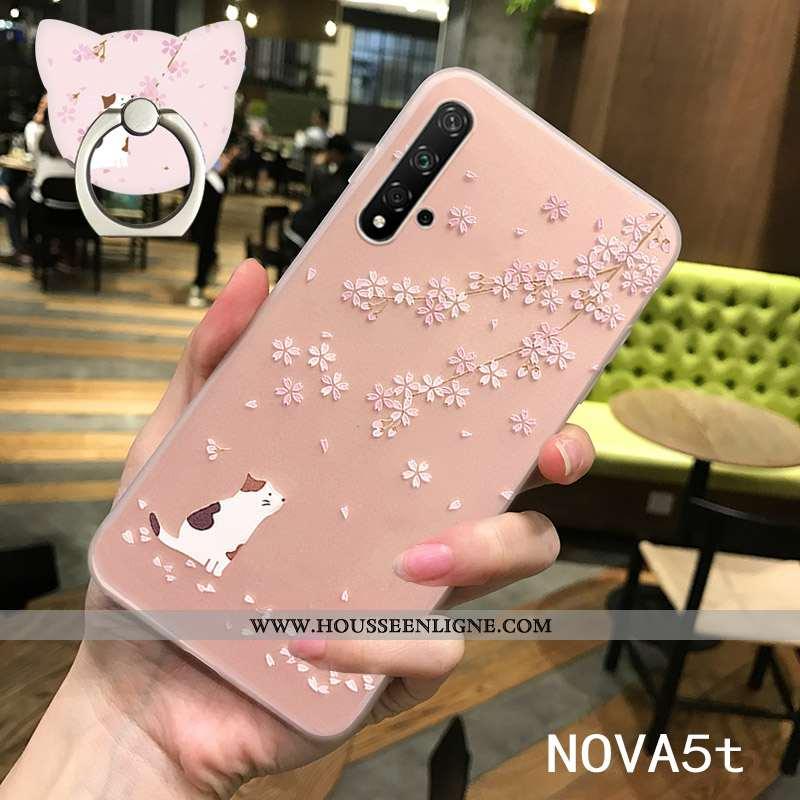 Coque Huawei Nova 5t Délavé En Daim Personnalité Incassable Fluide Doux Légère Silicone Rose