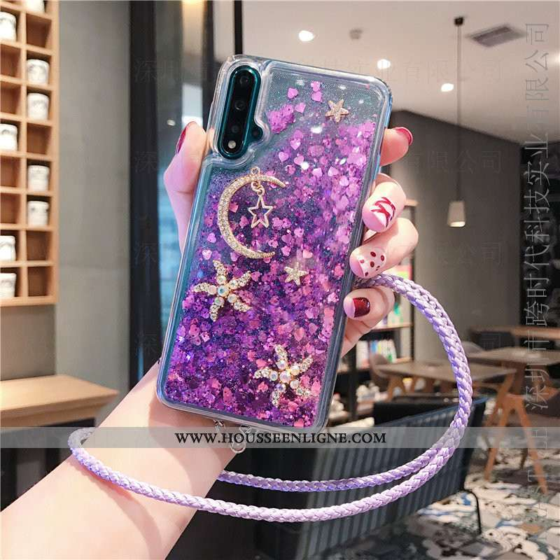 Coque Huawei Nova 5t Fluide Doux Net Rouge Quicksand Étui Violet Téléphone Portable