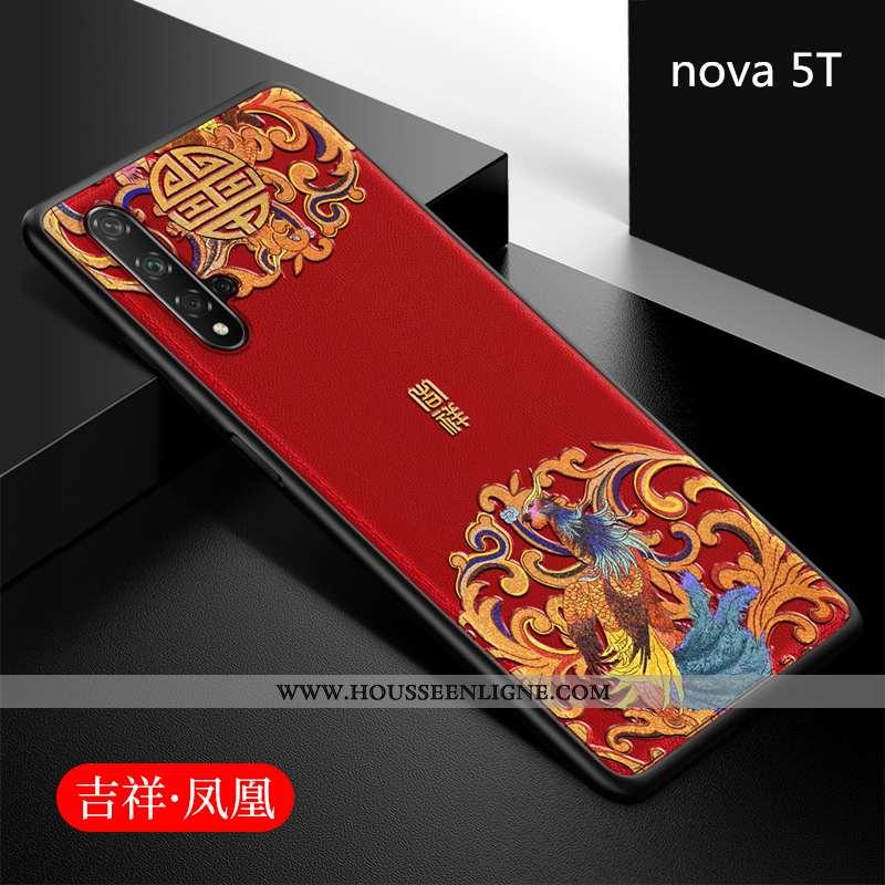 Coque Huawei Nova 5t Fluide Doux Silicone Net Rouge Tout Compris Étui Style Chinois