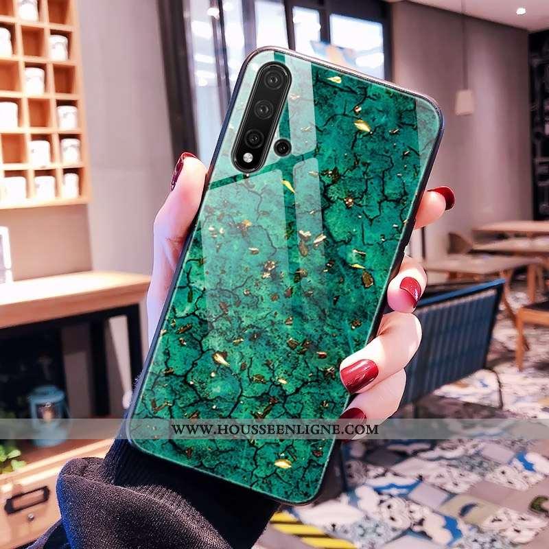 Coque Huawei Nova 5t Personnalité Tendance Personnalisé Vert 2020 Verre Modèle Fleurie Verte