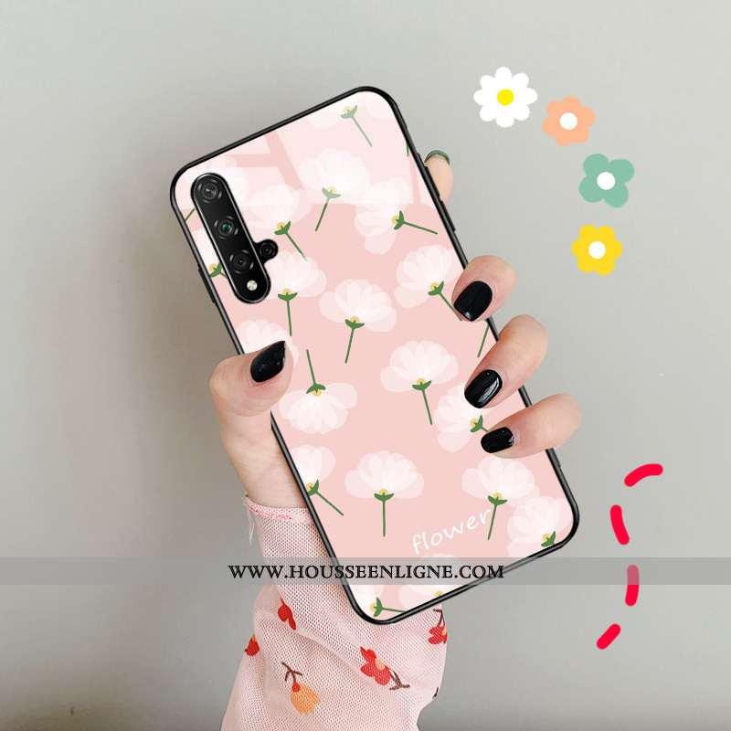 Coque Huawei Nova 5t Protection Verre Téléphone Portable Personnalité Simple Nouveau Vert Rose