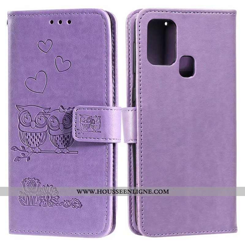 Coque Huawei P Smart 2020 Cuir Téléphone Portable Clamshell Étui Carte Violet