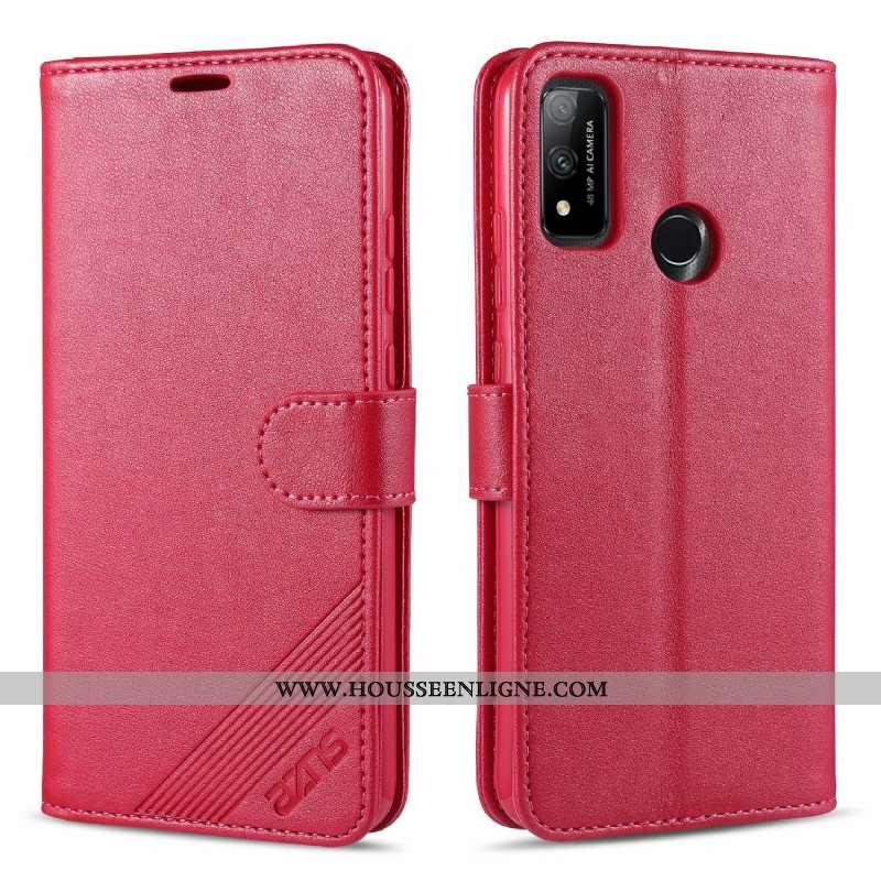 Coque Huawei P Smart 2020 Fluide Doux Portefeuille Étui Carte Rouge Tout Compris Rose