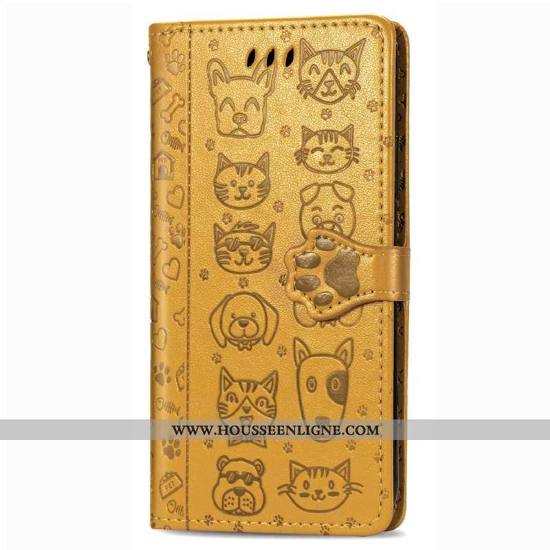 Coque Huawei P Smart 2020 Protection Charmant Téléphone Portable Portefeuille Une Agrafe Chat Jaune
