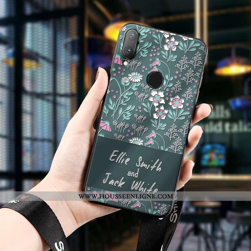 Coque Huawei P Smart 2020 Tendance Silicone Étui Téléphone Portable Dimensionnel Protection Art Vert