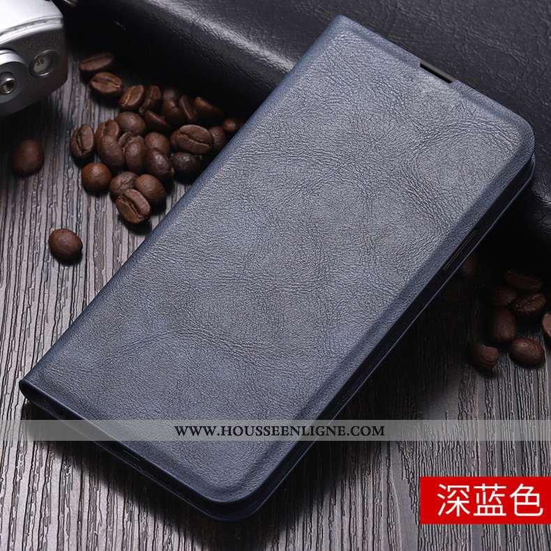 Coque Huawei P Smart Cuir Fluide Doux Housse Téléphone Portable Protection Bleu Marin Étui Bleu Fonc