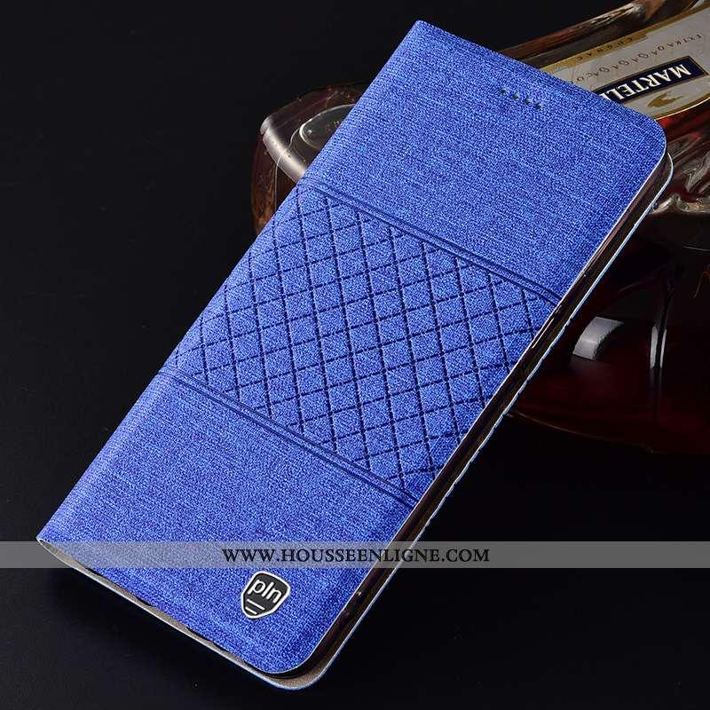 Coque Huawei P Smart Cuir Protection Étui Bleu Téléphone Portable Lin 2020