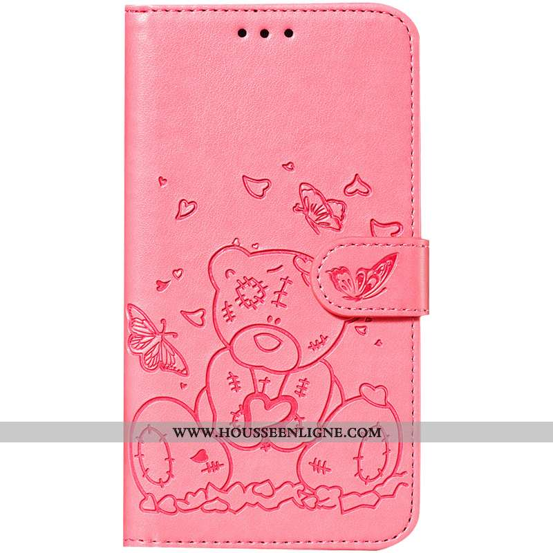 Coque Huawei P Smart Fluide Doux Dessin Animé Cuir Rose Carte Mesh Étui