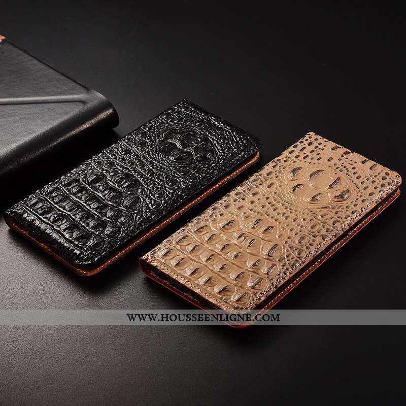 Coque Huawei P Smart Protection Cuir Véritable Tout Compris Crocodile Noir Téléphone Portable Cuir