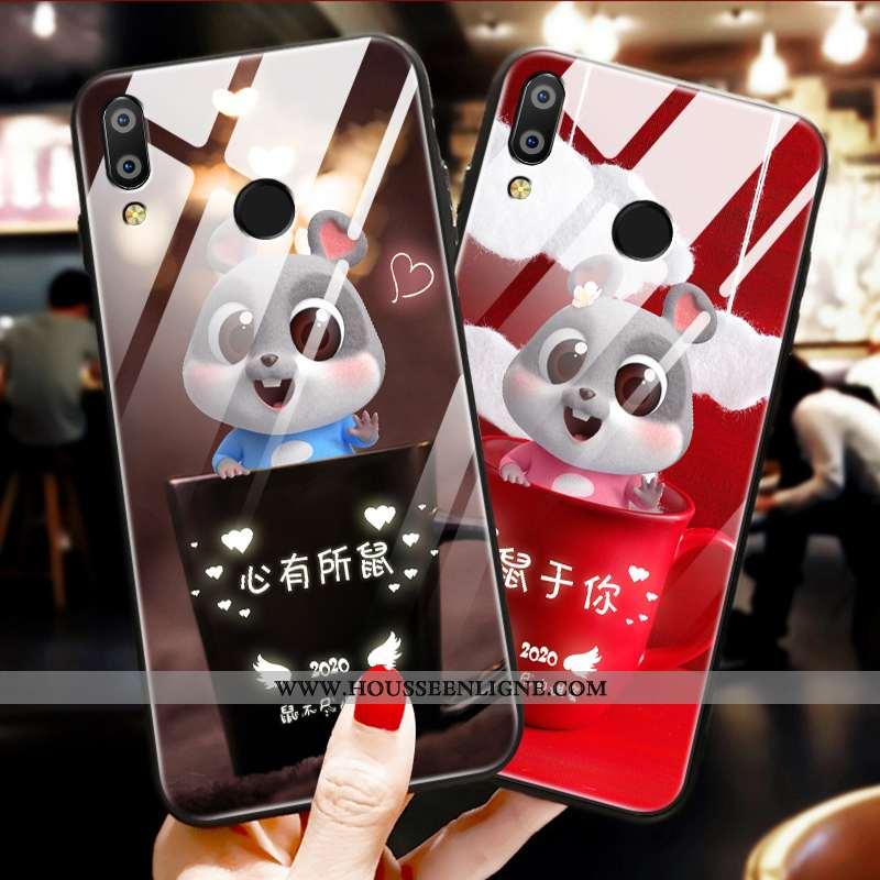 Coque Huawei P Smart+ Protection Verre Ornements Suspendus Tendance Fluide Doux Amoureux Étui Rouge