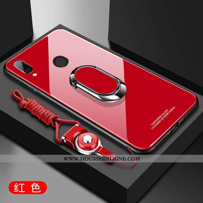 Coque Huawei P Smart+ Protection Verre Téléphone Portable Étui Fluide Doux Incassable Rouge