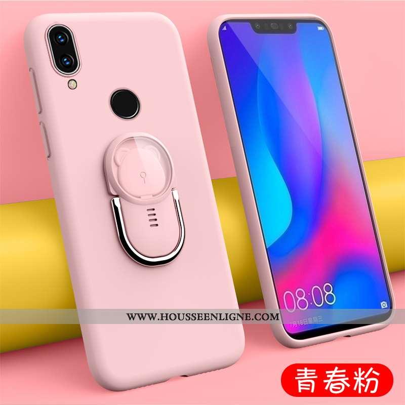 Coque Huawei P Smart+ Ultra Tendance Délavé En Daim Tout Compris Tempérer Étui Silicone Rose