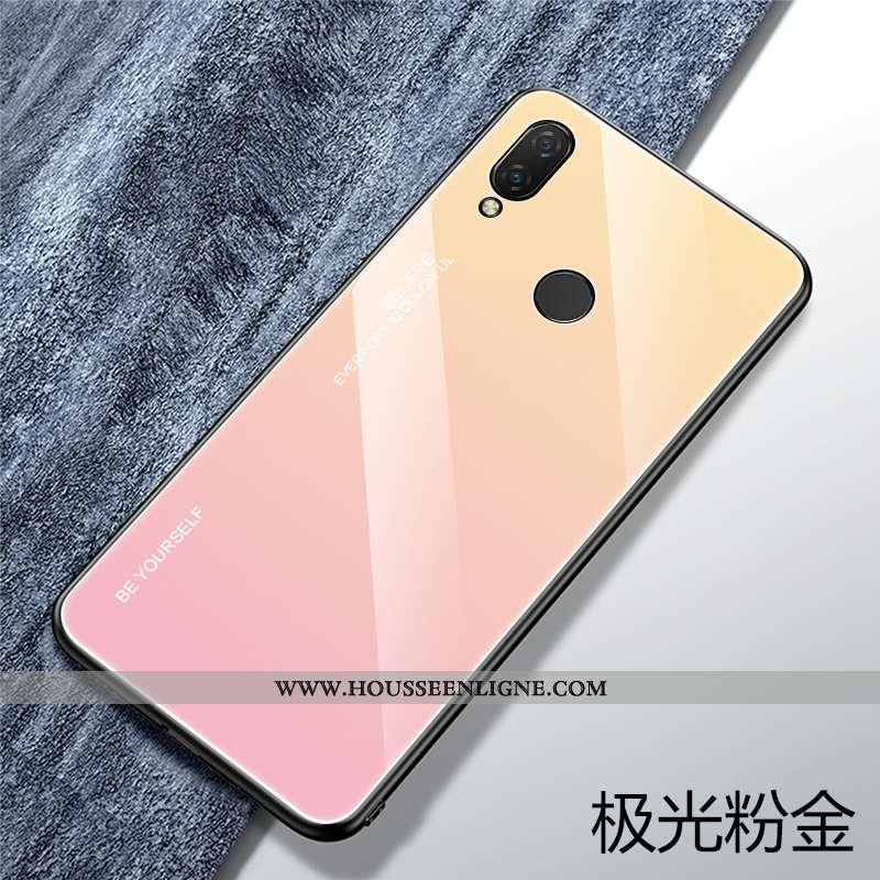 Coque Huawei P Smart+ Verre Personnalité Rose Silicone Téléphone Portable Tout Compris Créatif
