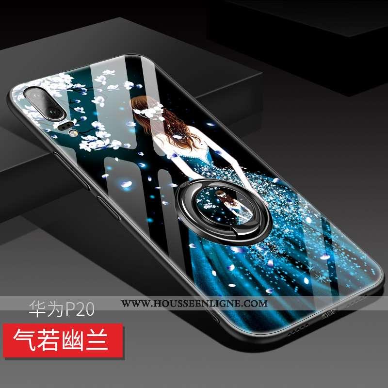 Coque Huawei P20 Fluide Doux Silicone Incassable Net Rouge Luxe Protection Bleu Foncé
