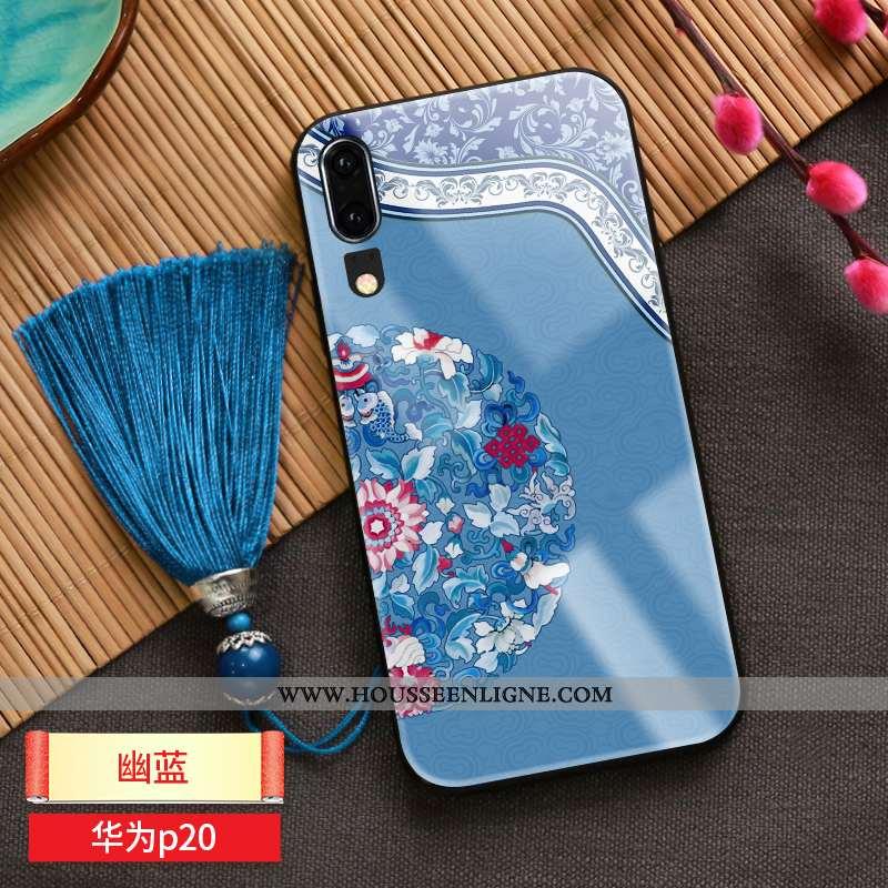 Coque Huawei P20 Ornements Suspendus Personnalité Incassable Téléphone Portable Bleu Net Rouge À Fra