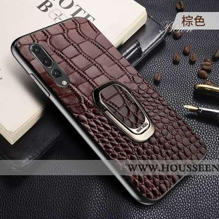 Coque Huawei P20 Pro Cuir Véritable Cuir Étui Tout Compris Luxe Protection Marron