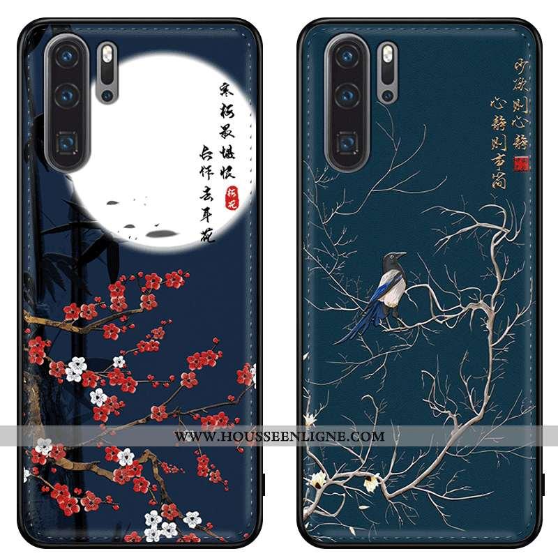 Coque Huawei P20 Pro Cuir Véritable Tendance Gaufrage Protection Téléphone Portable Silicone Étui Bl