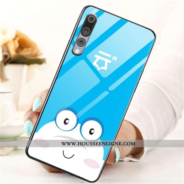 Coque Huawei P20 Pro Dessin Animé Charmant Étui Verre Protection Téléphone Portable Tendance Bleu