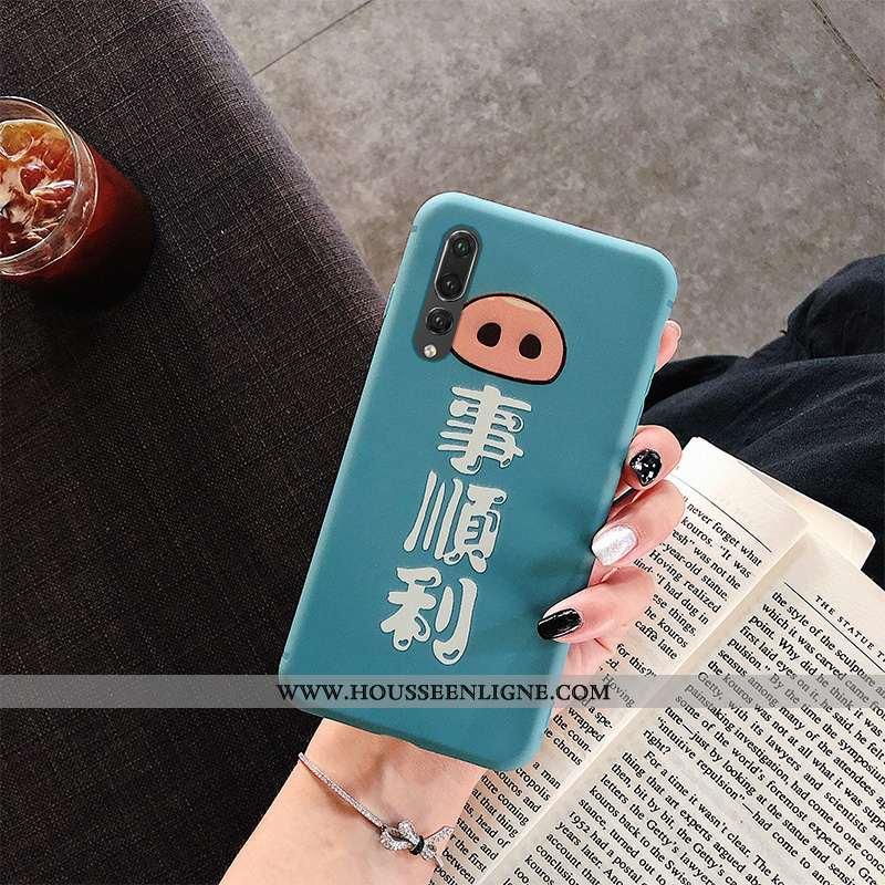 Coque Huawei P20 Pro Personnalité Créatif Silicone Tout Compris Simple Incassable Dessin Animé Bleu
