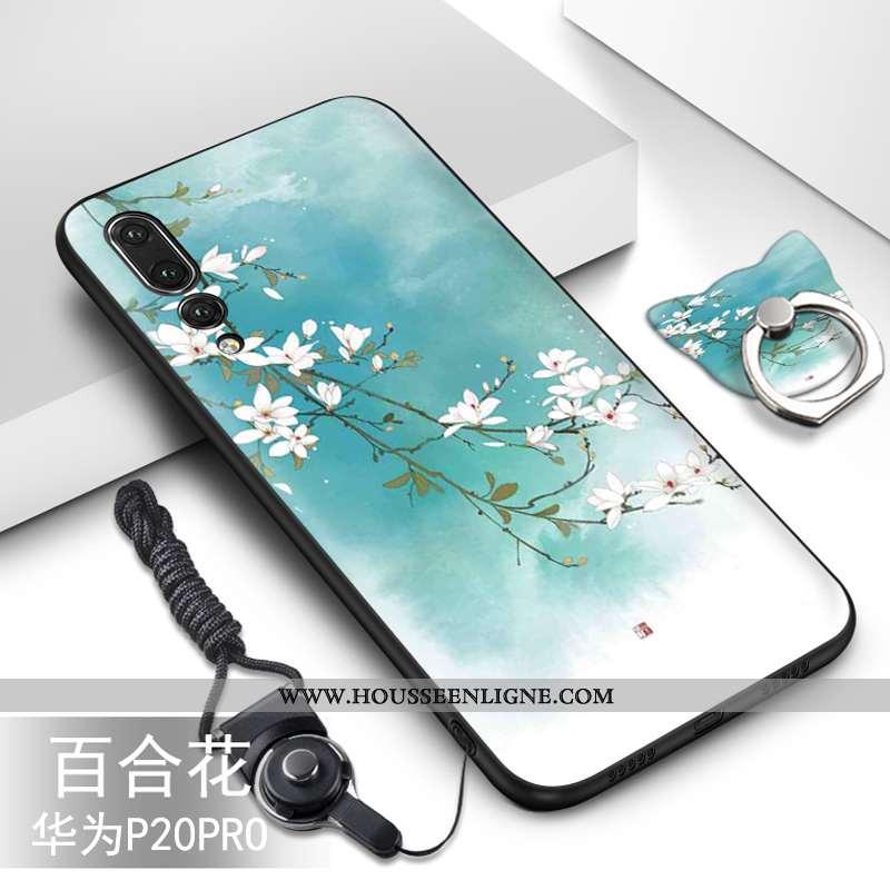 Coque Huawei P20 Pro Protection Fluide Doux Silicone Étui Téléphone Portable Vert Turquoise