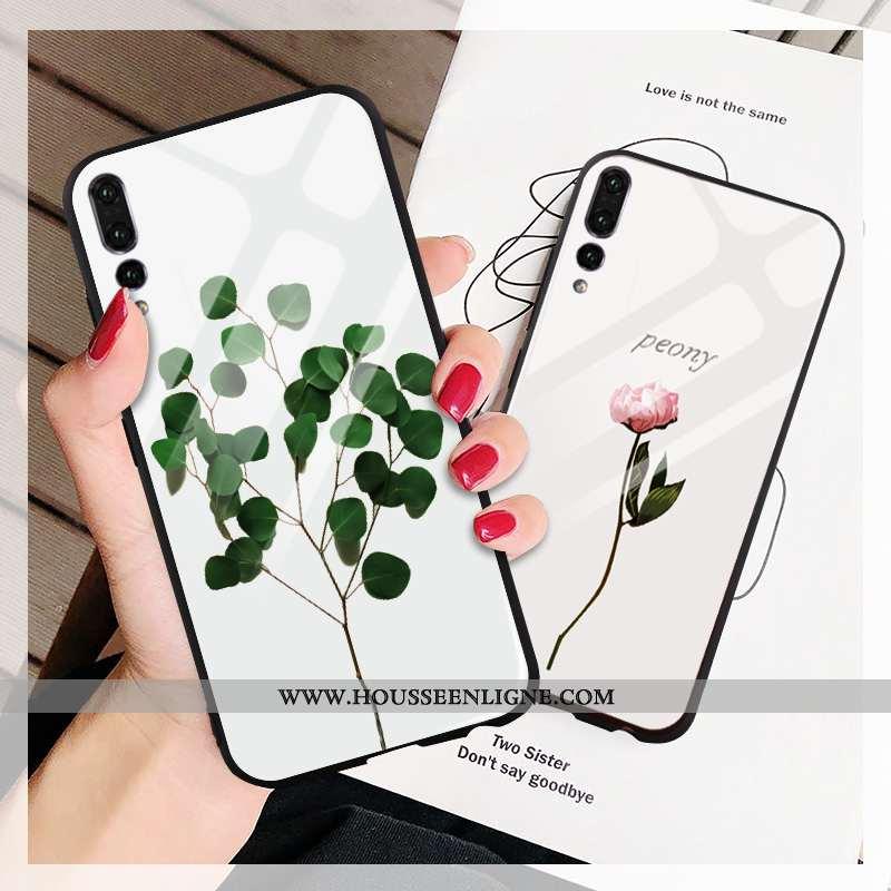 Coque Huawei P20 Pro Protection Verre Téléphone Portable Net Rouge Étui Miroir Verte