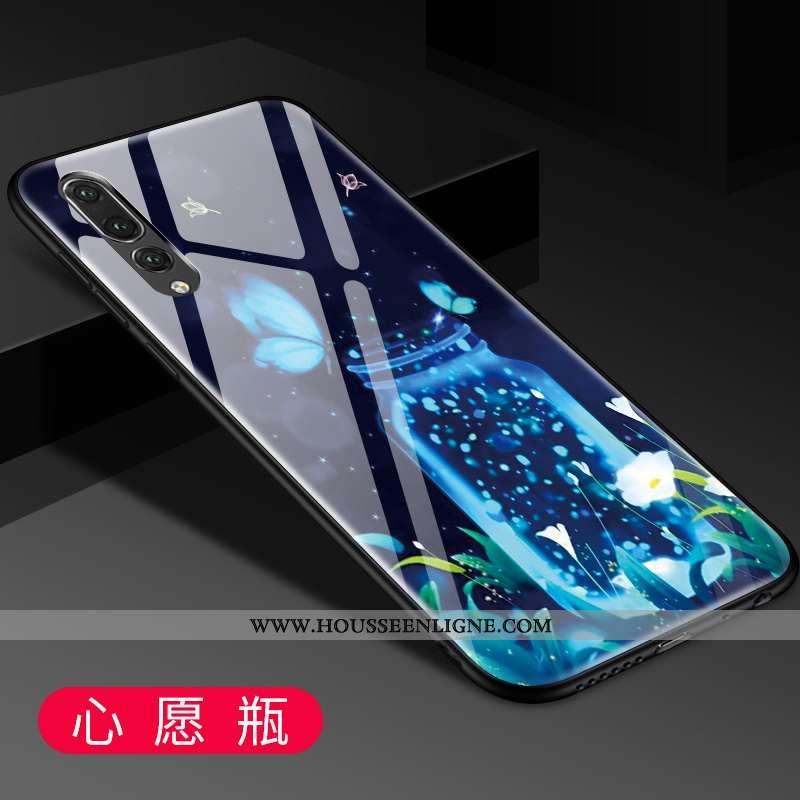 Coque Huawei P20 Pro Protection Verre Tendance Mode Créatif Bleu Étui