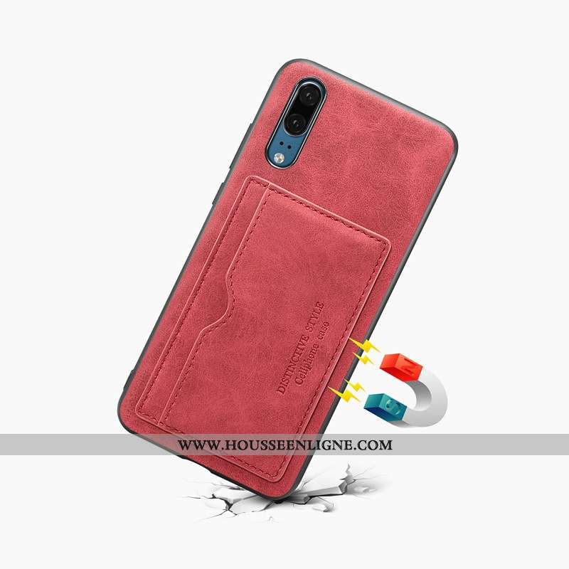 Coque Huawei P20 Protection Cuir Rouge Téléphone Portable Étui Carte