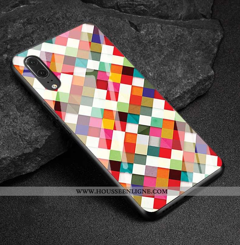 Coque Huawei P20 Protection Verre Losange Téléphone Portable Cuir Véritable Multicolore Coloré