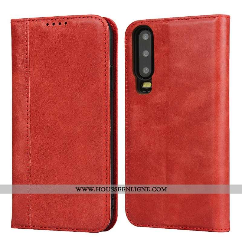 Coque Huawei P30 Cuir Véritable Protection Incassable Étui Téléphone Portable Housse Luxe Rouge