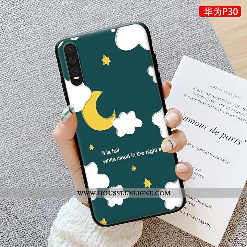 Coque Huawei P30 Dessin Animé Charmant Dimensionnel Téléphone Portable Luxe Vert Simple Verte