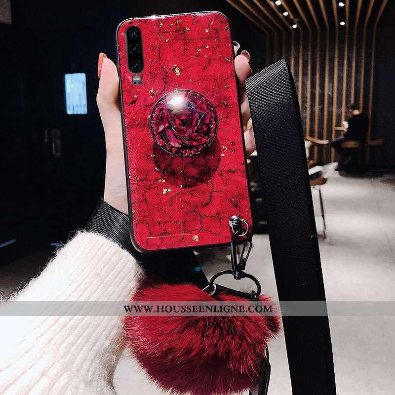 Coque Huawei P30 Fluide Doux Silicone Étui Rouge Incassable Tendance Ornements Suspendus