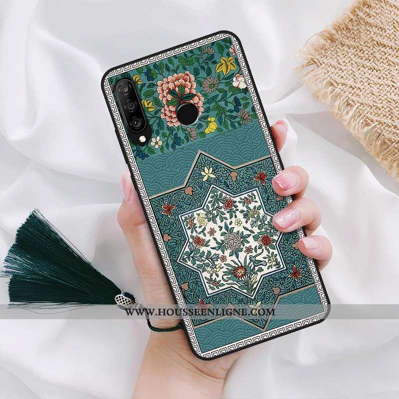 Coque Huawei P30 Lite Délavé En Daim Téléphone Portable Palais Vent Vert Verte