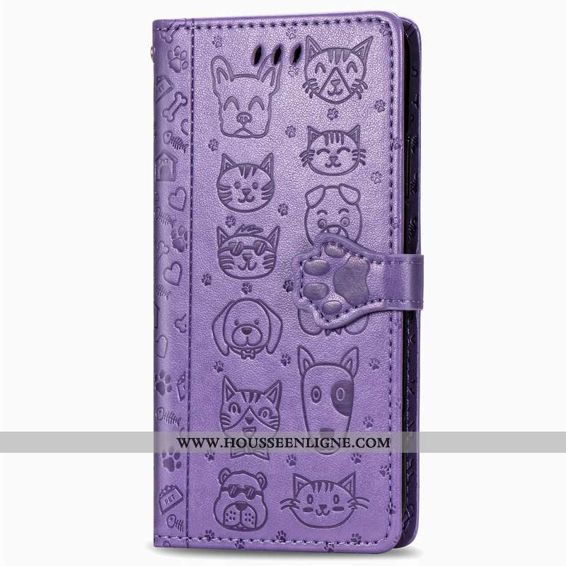 Coque Huawei P30 Lite Dessin Animé Charmant Chiens Housse Cuir Ornements Suspendus Violet