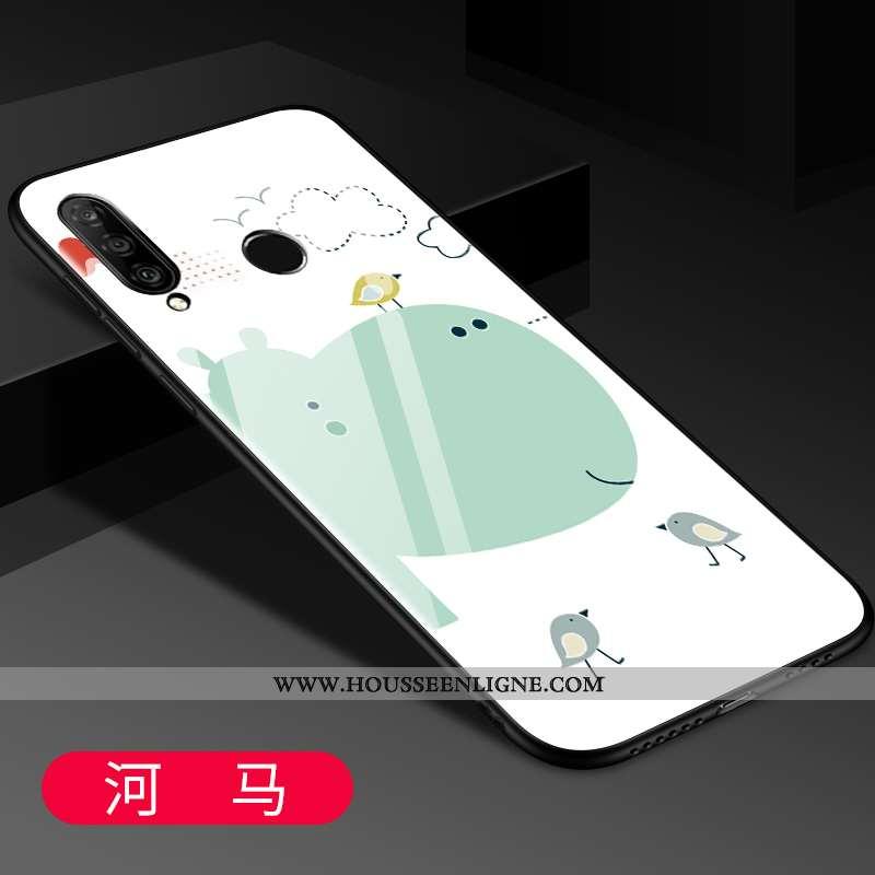Coque Huawei P30 Lite Fluide Doux Silicone Téléphone Portable Miroir Dessin Animé Délavé En Daim Ver