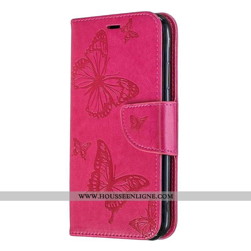Coque Huawei P30 Lite Gaufrage Cuir Couleur Unie Rouge Protection Ornements Suspendus Rose